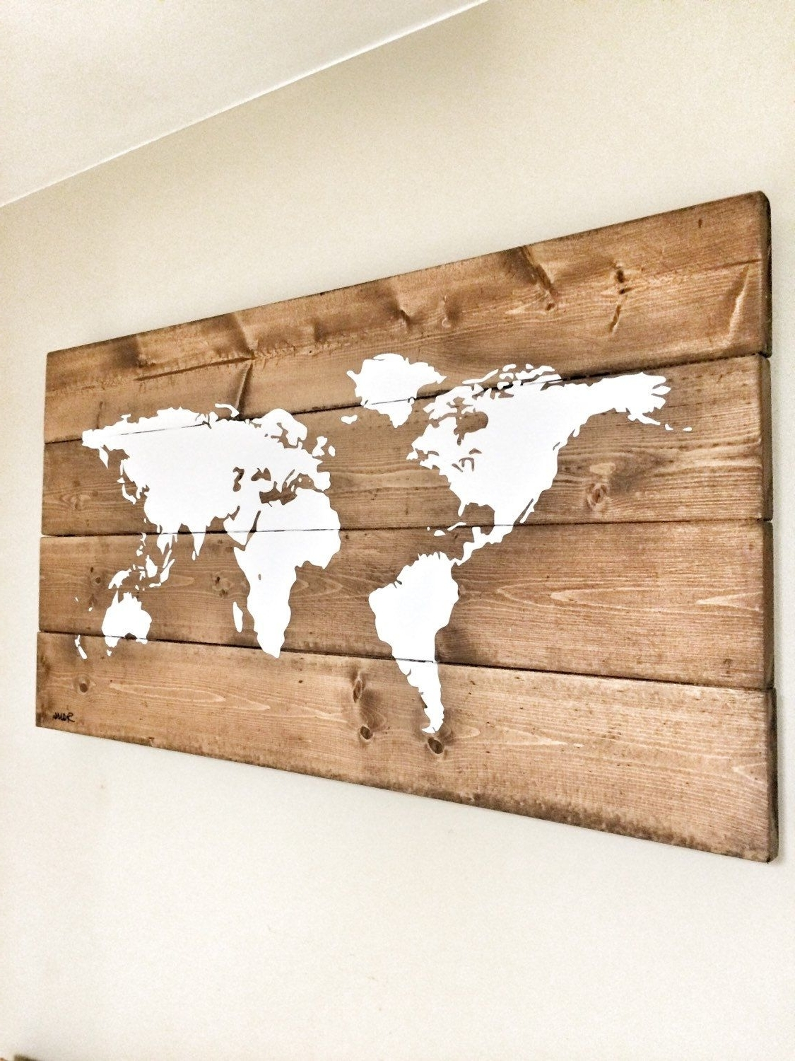 Latest Wooden World Map Wall Art Within Rustic Wood World Map, Rustic Decor, Farmhouse Decor, Rustic Nursery (View 7 of 15)