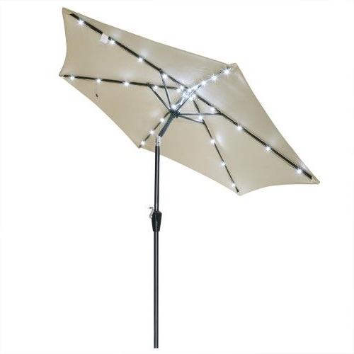 Latest Yescom Patio Umbrellas In 8Ft Led Aluminum (Silver) Outdoor Patio Umbrella Sunshade Gazebo (View 6 of 15)
