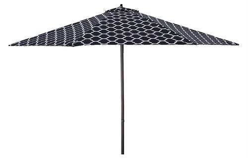 Lauren & Company 9' Black/white Moroccan Pattern Patio Umbrella Inside Newest Black And White Patio Umbrellas (View 8 of 15)