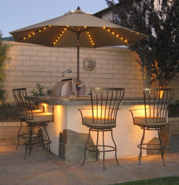 Led Patio Umbrellas Within Famous Galtech 9' Aluminum Auto Tilt Patio Umbrella With Led Umbrella (View 11 of 15)
