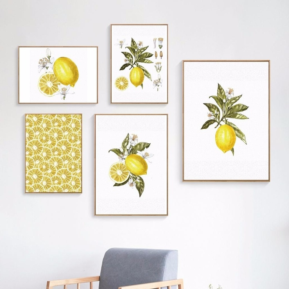 Lemon Wall Art For 2018 Oubei Art Nordic Lemon Wall Art Wall Pictures For Living Room Modern (View 11 of 15)