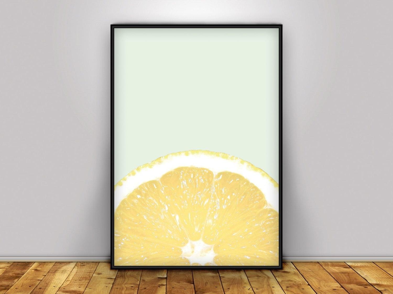 Lemon Wall Art For Newest Lemon Wall Art, Wall Art, Lemon Print, Kitchen Art, Citrus Print (View 3 of 15)