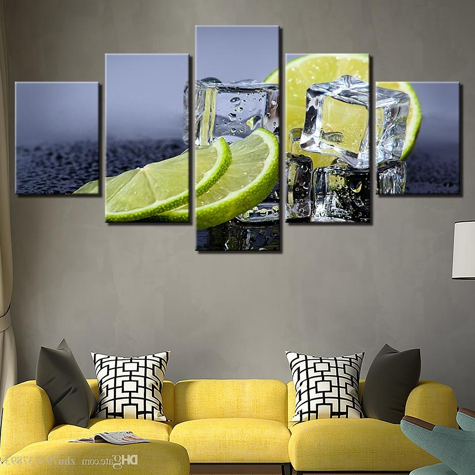 Lemon Wall Art With Regard To Most Popular Canvas Prints Pictures Kitchen & Restaurant Lemon Ice Cubes (View 13 of 15)