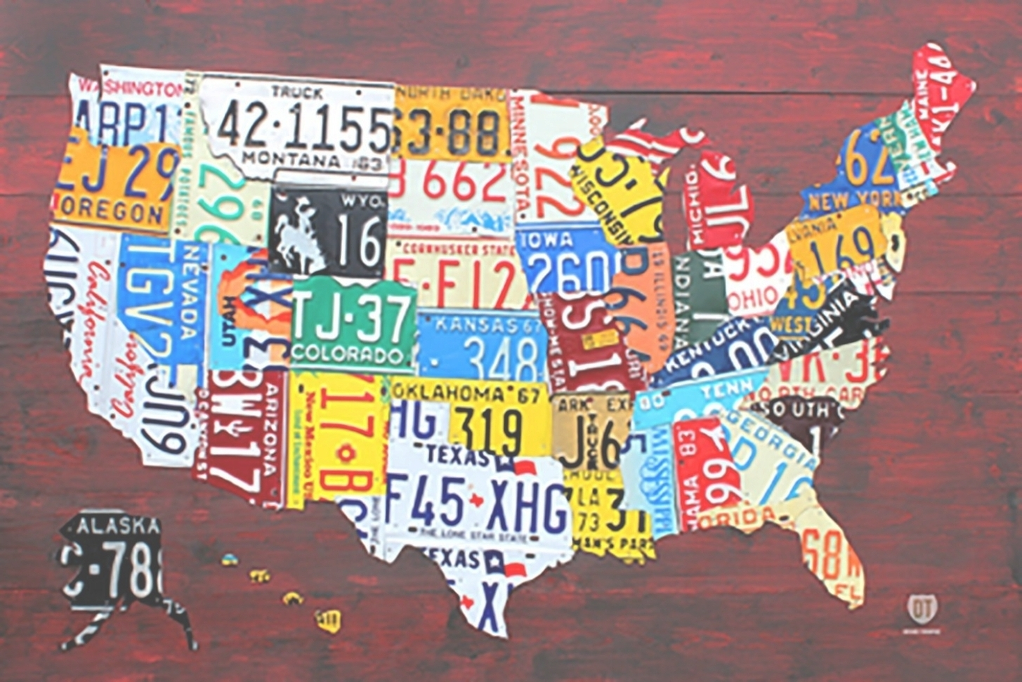 License Plate Map Wall Art Inside Latest United States License Plate Map Poster 45 Ideas Of License Plate Map (View 10 of 15)
