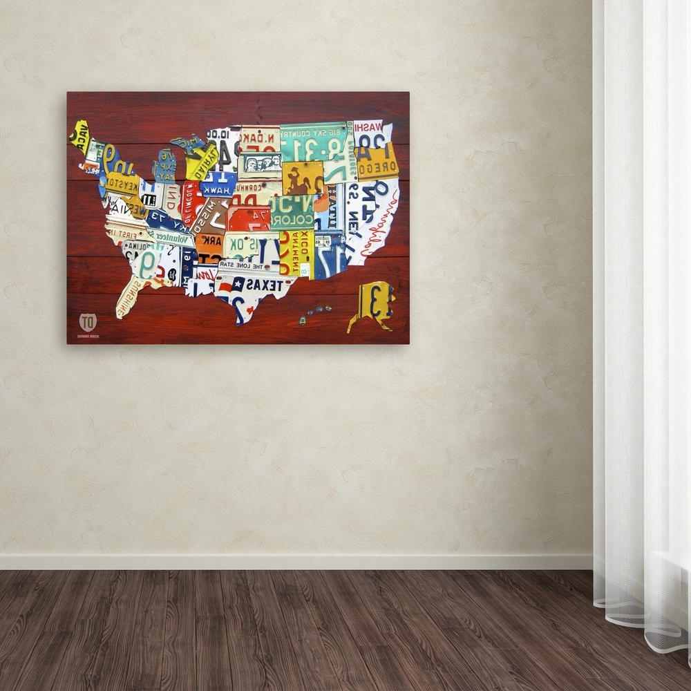 License Plate Map Wall Art Throughout Widely Used Trademark Fine Art 24 In. X 32 In (View 5 of 15)