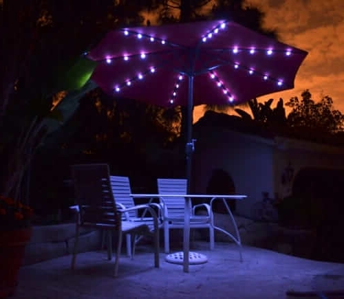 Lighted Patio Umbrellas For Most Up To Date Solar Powered Lighted Patio Umbrellas: Homprotekquality Patio (View 11 of 15)