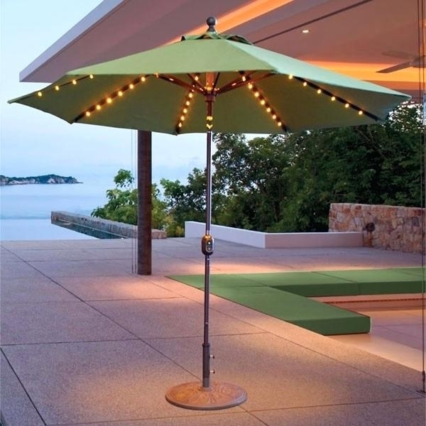 Lighted Patio Umbrellas Intended For Famous Precious Solar Lighted Patio Umbrellas E8650204 Patio Umbrella With (View 15 of 15)