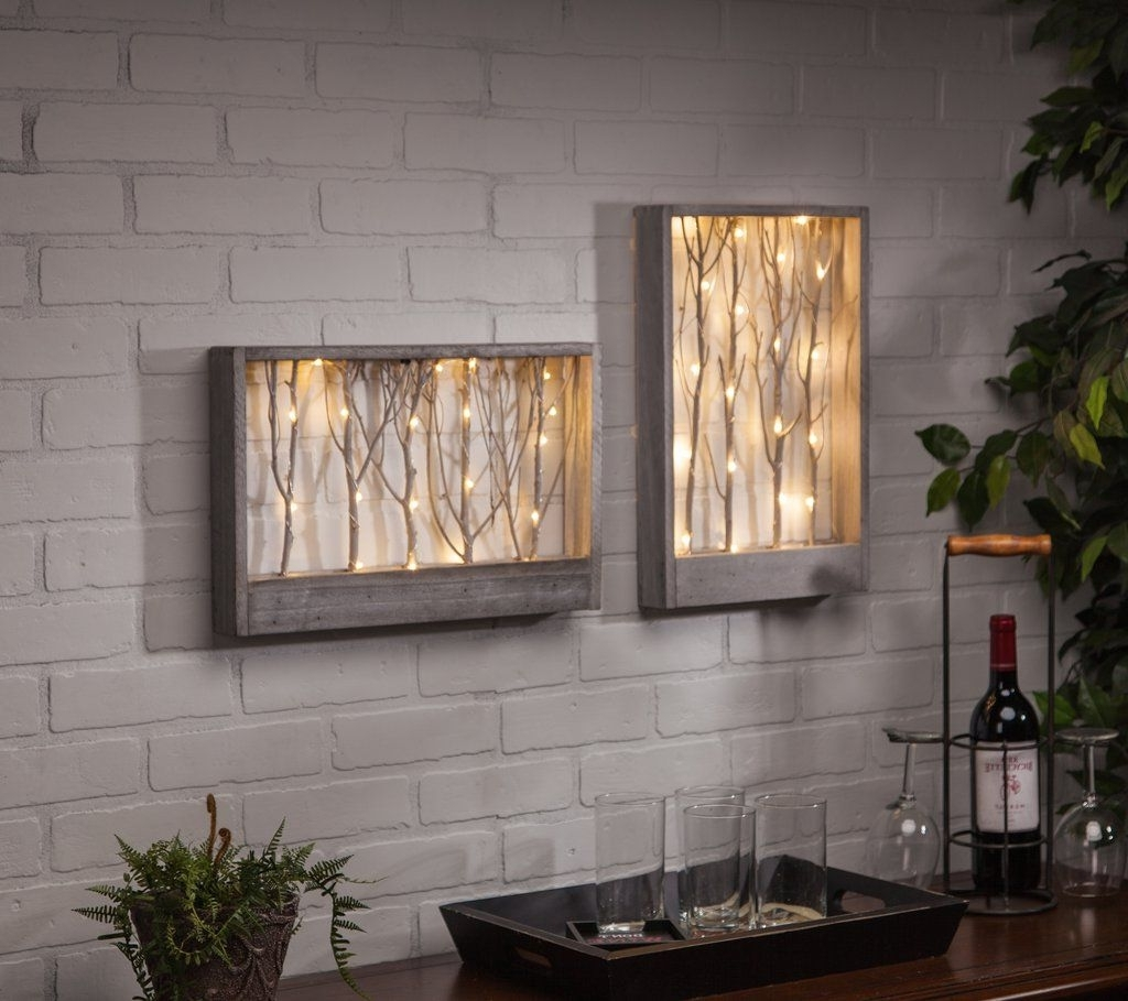 Lighted Wall Art With Regard To Popular Lighted Branch Wall/table Decor (View 10 of 15)