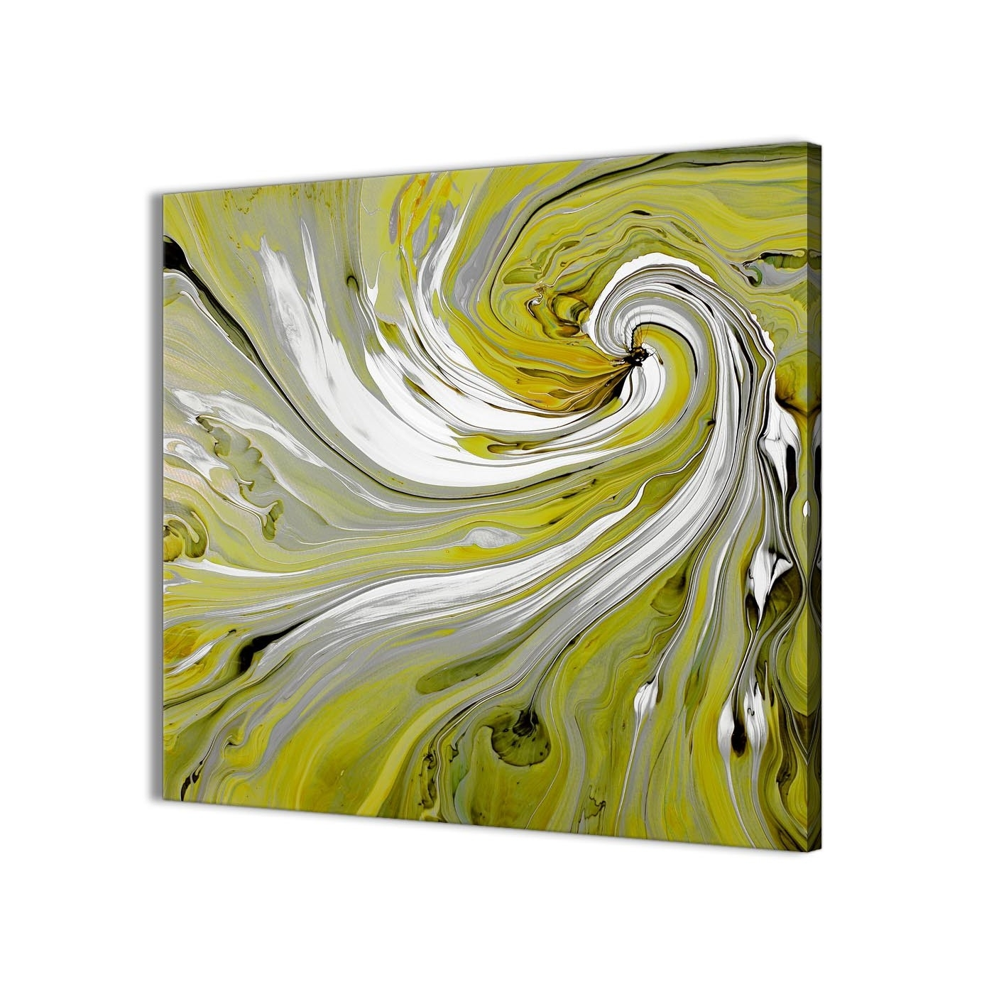 Lime Green Swirls Modern Abstract Canvas Wall Art – Modern 49Cm Intended For Most Up To Date Abstract Wall Art (View 6 of 15)