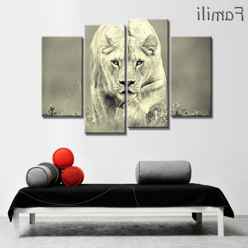 Lion King Wall Art Throughout Recent 4 Piece Animals Lion Canvas Painting Modern Hanging Art Lion King (View 15 of 15)