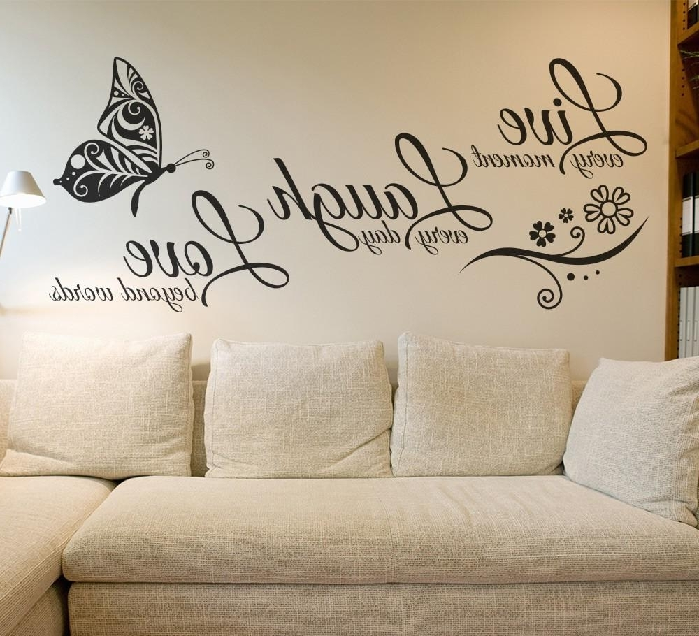 Live Laugh Love Butterfly Flower Wall Art Sticker Wall Decals Quotes With Regard To Most Recently Released Live Laugh Love Wall Art (View 4 of 15)