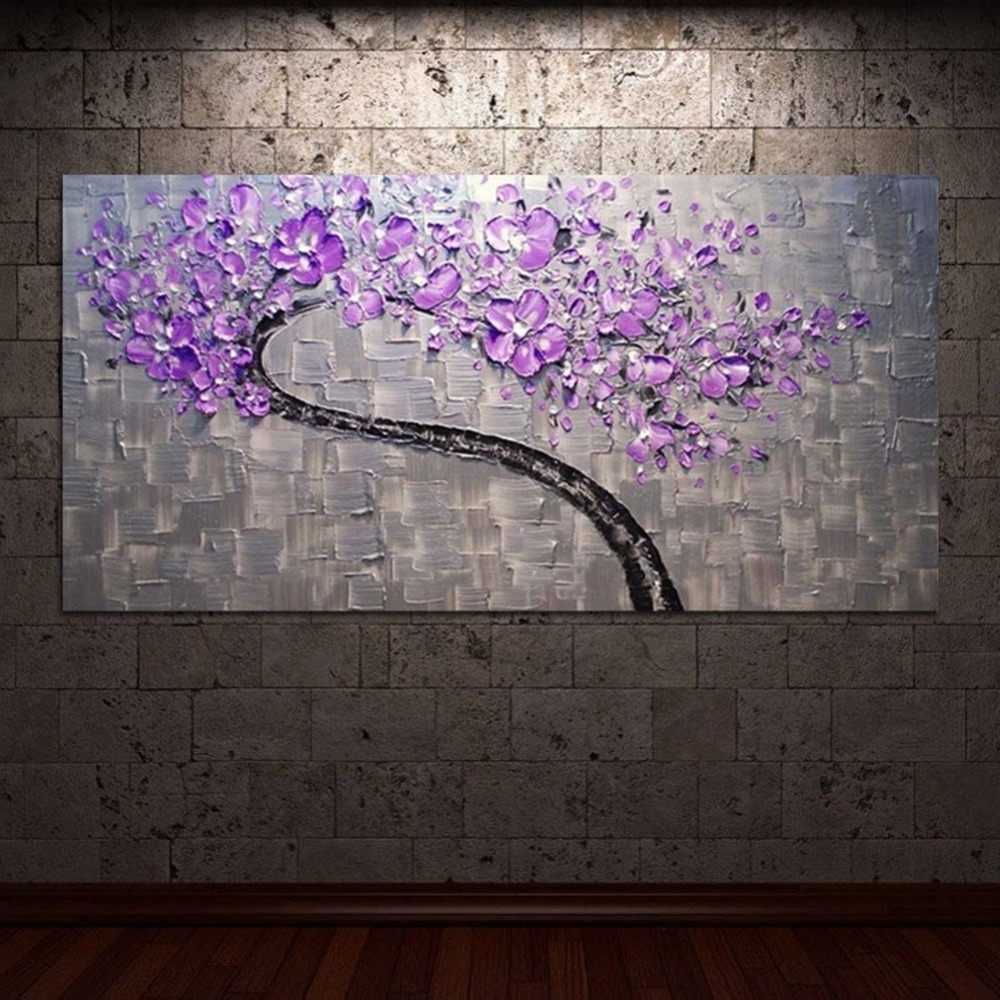 Living Room Hall Wall Art Handmade Landscape Oil Paintings On Canvas With Regard To Most Recently Released Purple Wall Art (View 2 of 15)
