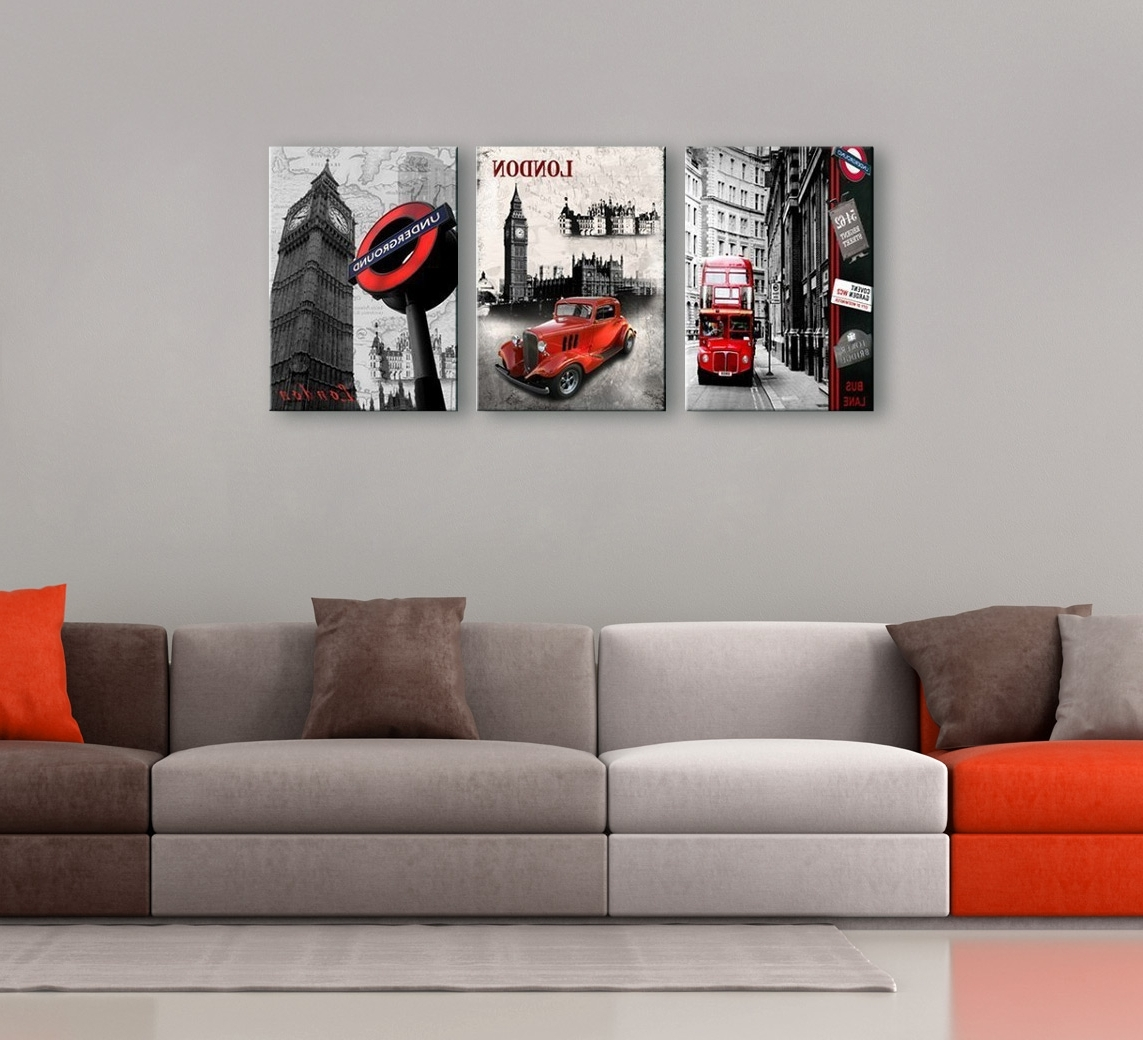 London Cityscape 3 Piece Printed Photography Throughout Most Recent Red And Black Canvas Wall Art (View 8 of 15)