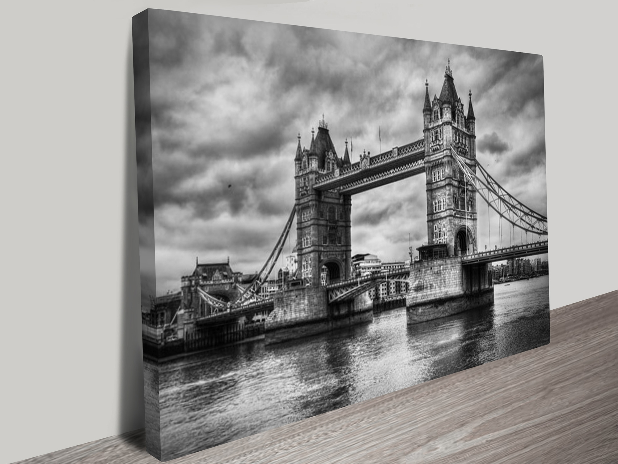London Wall Art With Regard To Well Liked London Bridge Black And White Canvas Art Print (View 9 of 15)