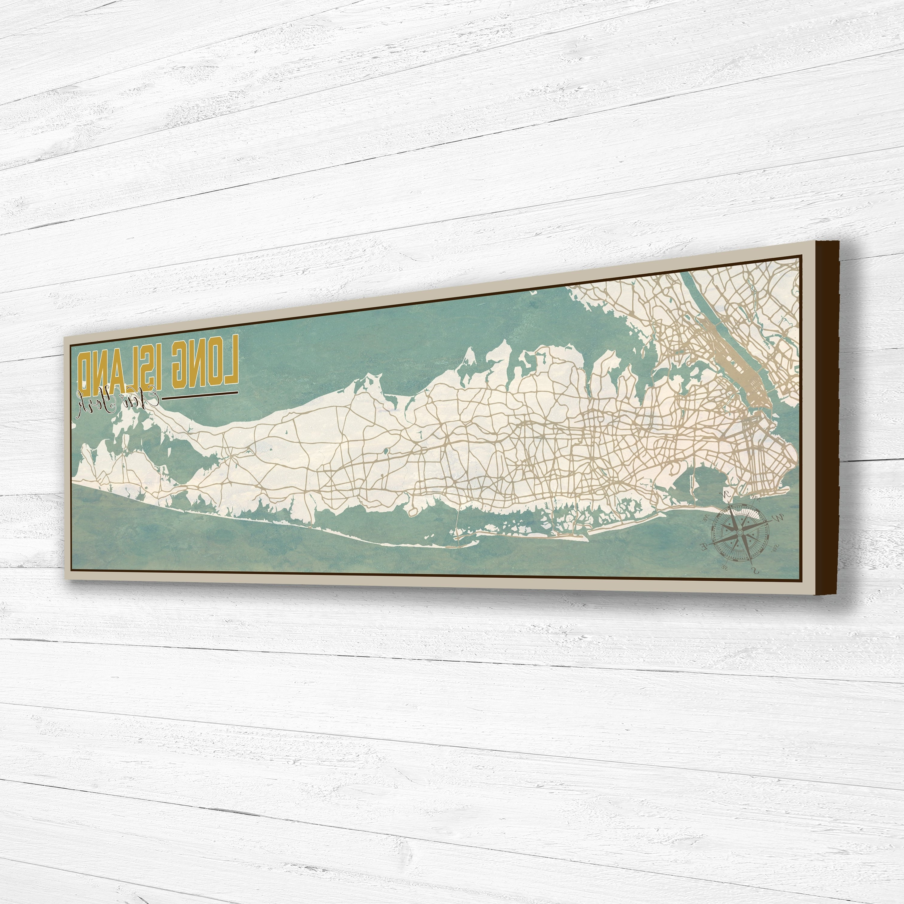 Long Island Ny Wall Art Map Framed North Fork Vintage Outdoor Pertaining To Latest Long Island Wall Art (View 4 of 15)