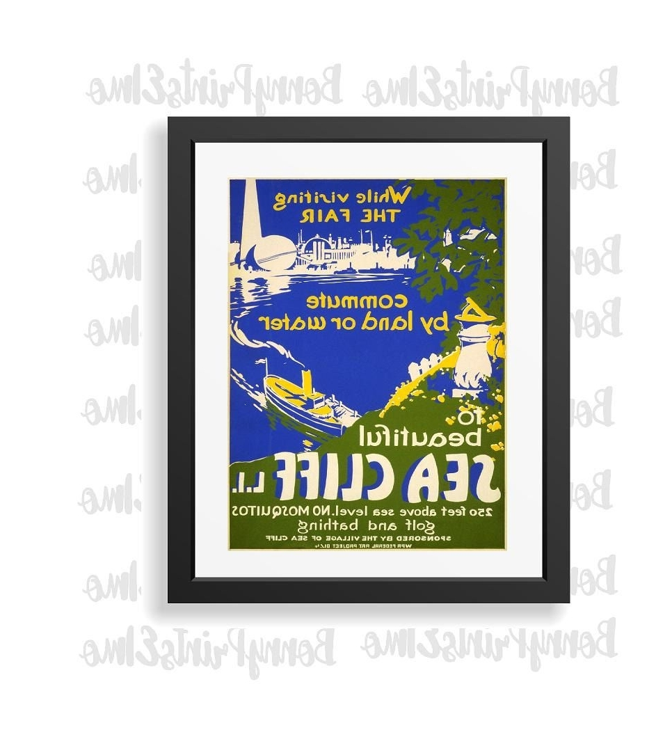 Long Island Poster,sea Cliff Art Print,long Island Travel Print Pertaining To Favorite Long Island Wall Art (View 6 of 15)