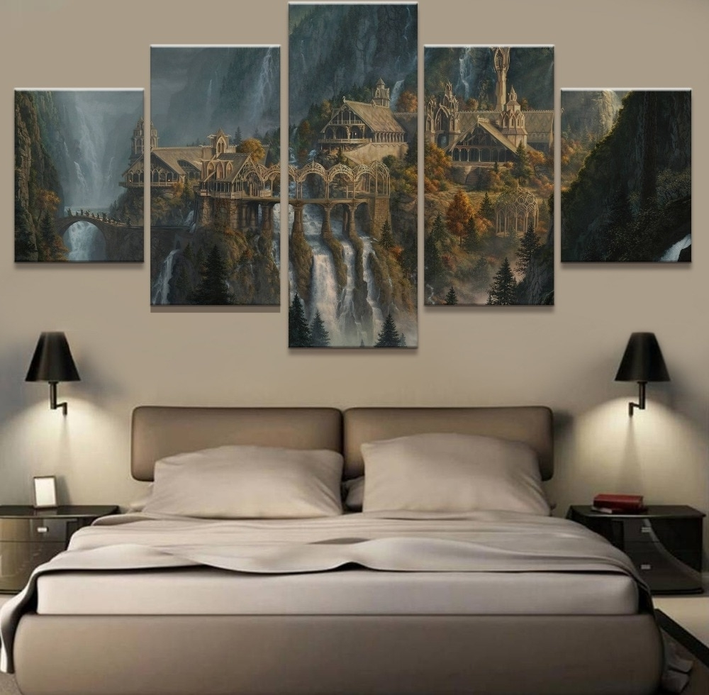 Lord Of The Rings Wall Art With Best And Newest Wall Art 5 Panel Painting Lord Of The Rings Modern Home Decor Canvas (View 2 of 15)