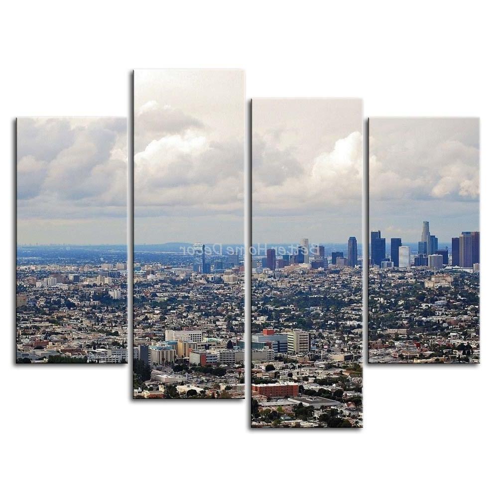 Los Angeles Wall Art Regarding Favorite 3 Piece Wall Art Painting Los Angeles House Crowd Picture Print On (View 8 of 15)
