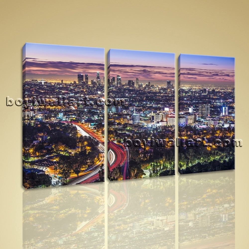 Los Angeles Wall Art With Regard To Favorite Los Angeles Skyline Painting Large Los Angeles Skyline Cityscape On (View 9 of 15)