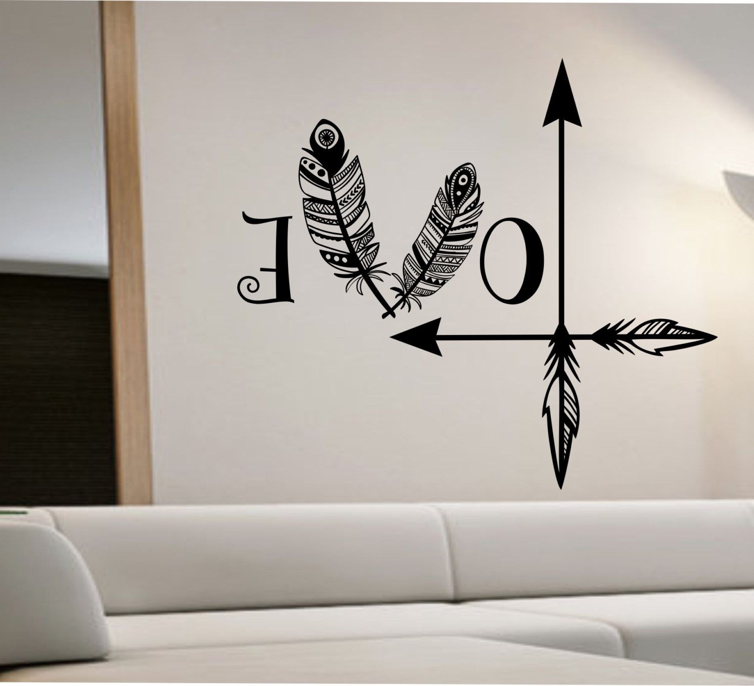 Love Arrow Wall Decal Feather Namaste Vinyl Sticker Art Decor Intended For Best And Newest Love Wall Art (View 7 of 15)