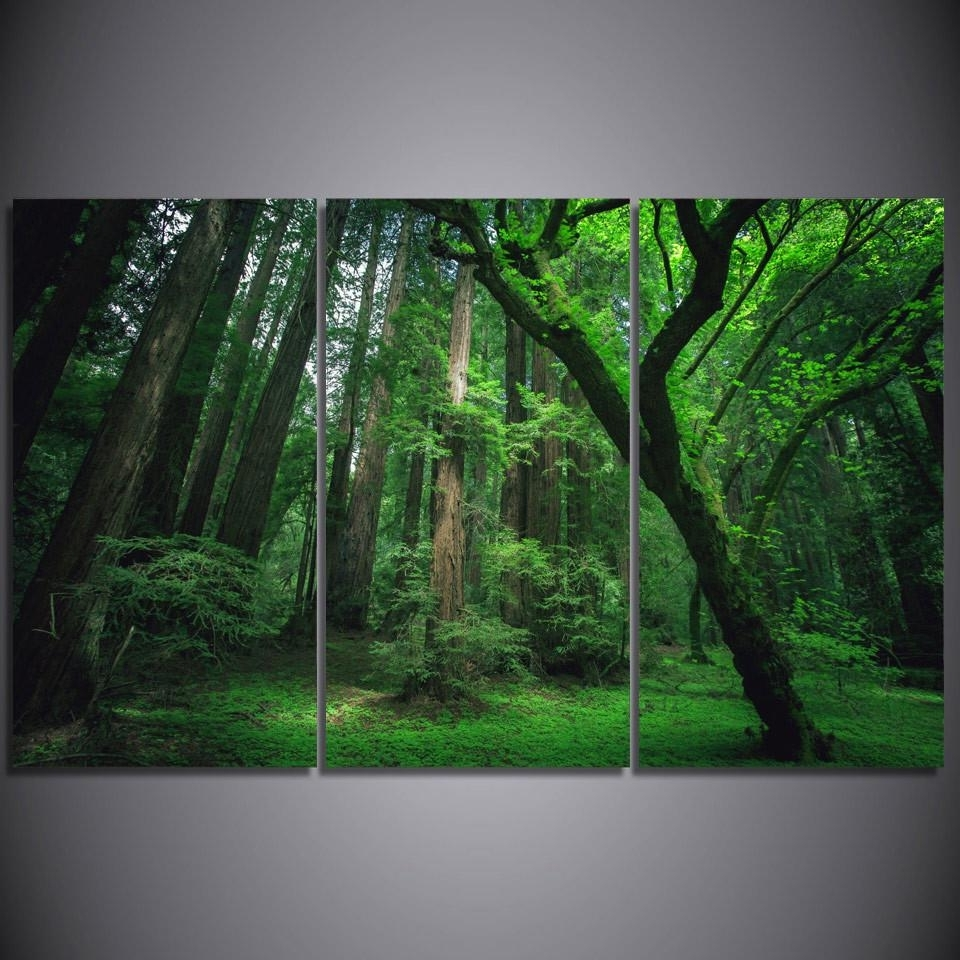 Lush Green Forest Framed Canvas Wall Art Nature Art – Super Tech With Regard To Newest Nature Wall Art (View 5 of 15)