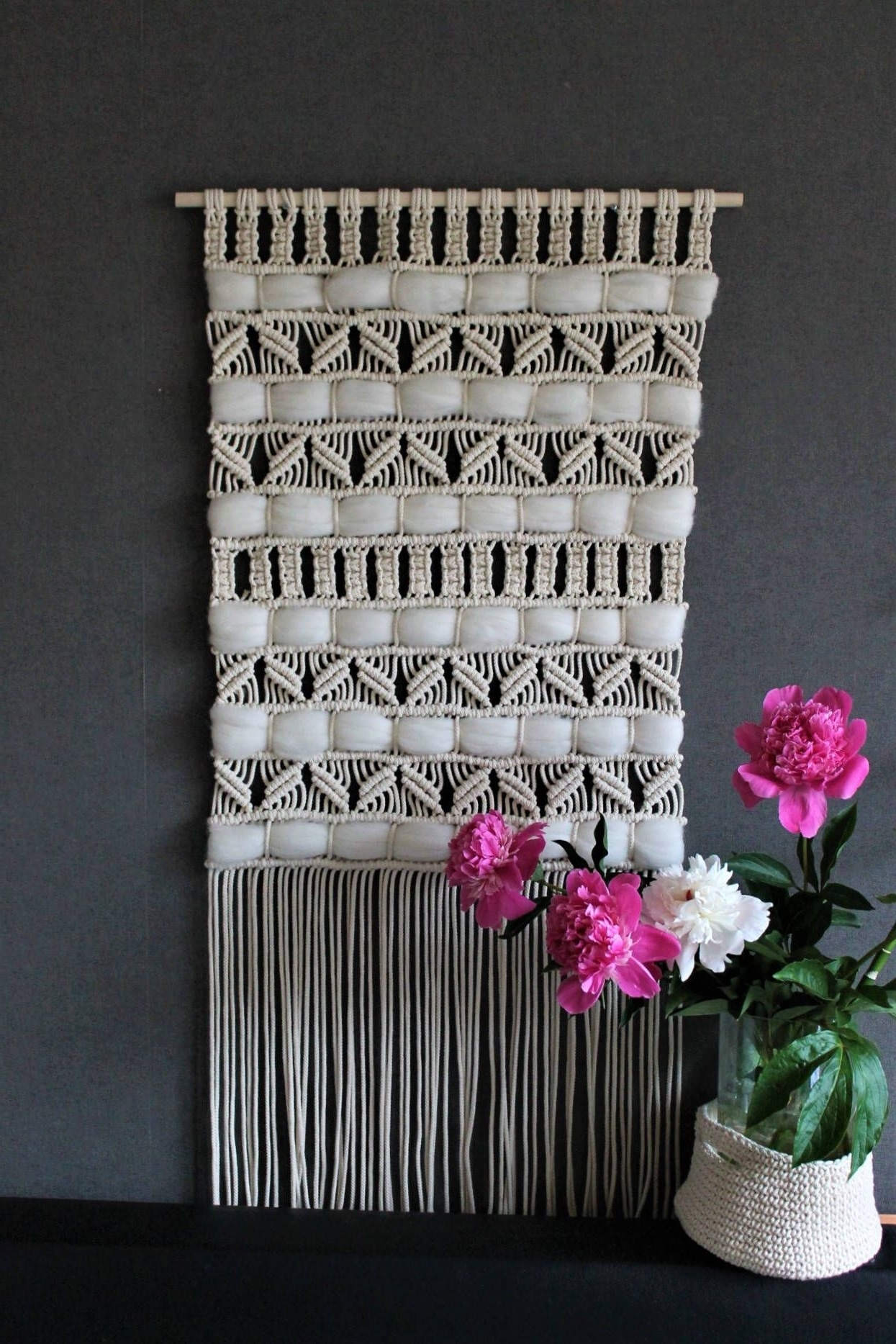 Macrame Wall Hanging On Wooden Dowel Bohemian Macrame Wall Scheme Of For Most Recent Crochet Wall Art (View 12 of 15)