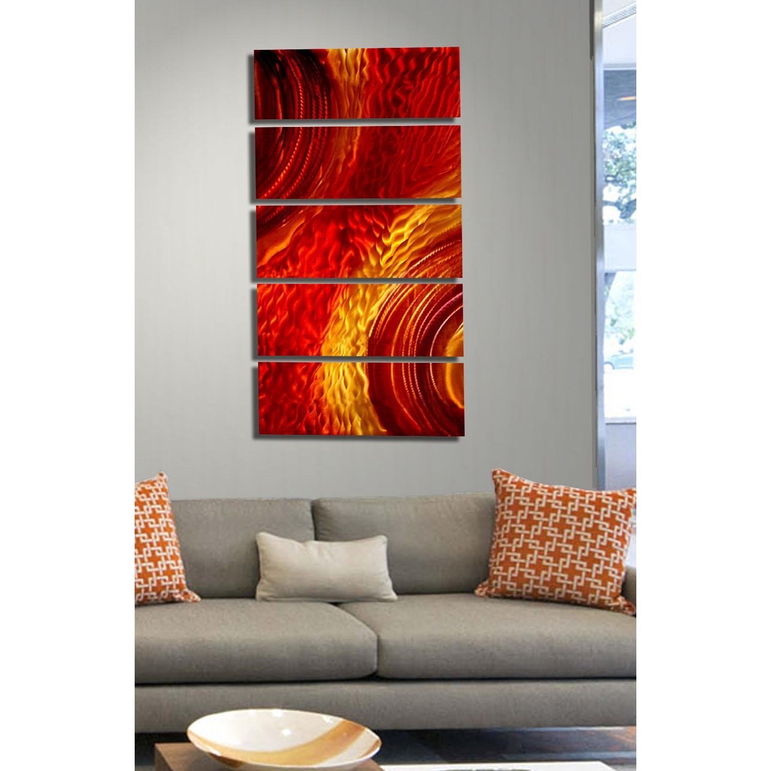 Magma – Red And Gold Metal Wall Art – 5 Panel Wall Décorjon In Preferred Orange Wall Art (View 7 of 15)