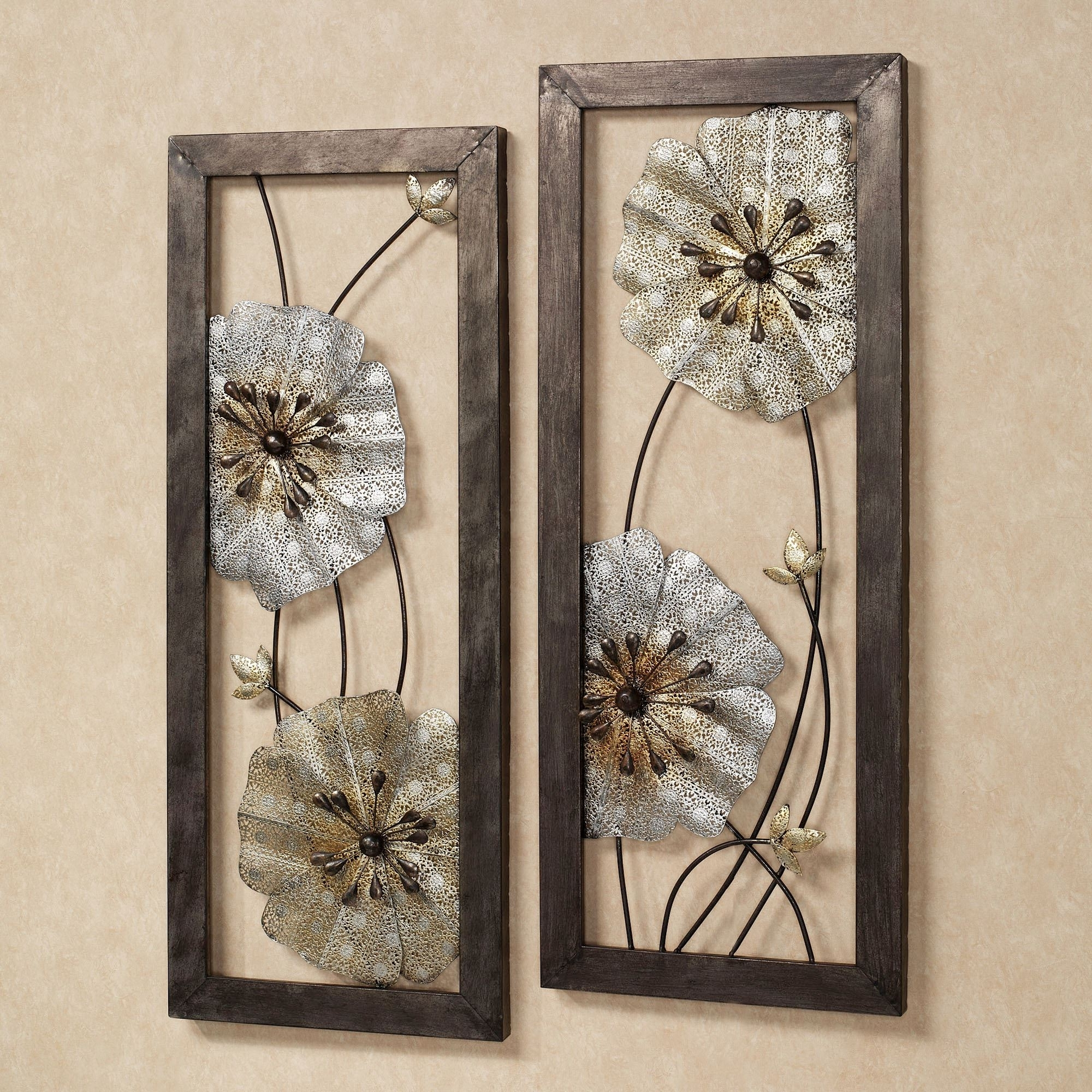 Malacia Openwork Floral Metal Wall Art Set Intended For Fashionable Metallic Wall Art (View 5 of 15)