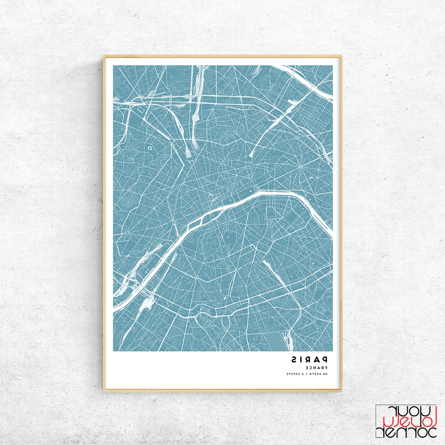 Map Of Paris Wall Art Pertaining To Most Current Paris Map Print Paris Street Map Wall Art Paris France (View 5 of 15)