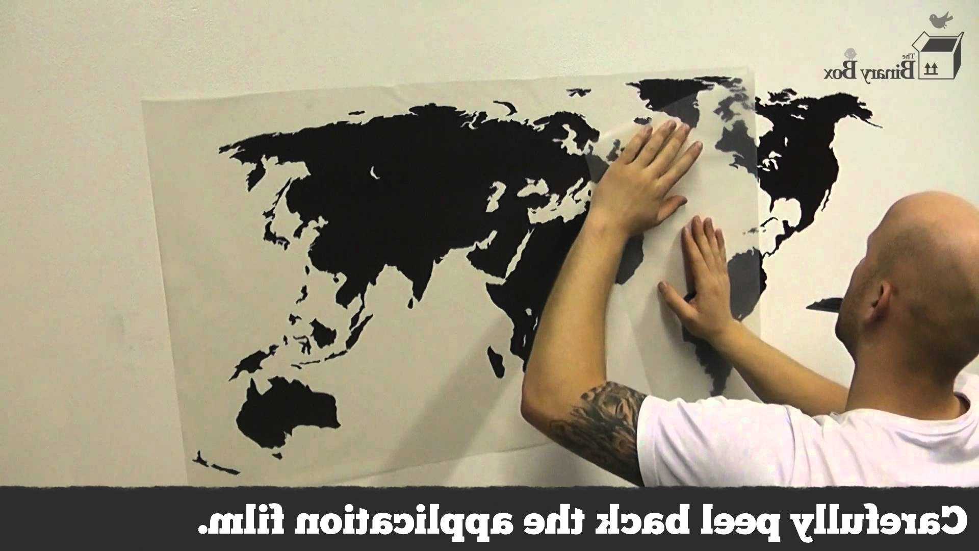 Map Of The World Wall Art With Widely Used World Map Wall Sticker Application – The Binary Box – Youtube (View 13 of 15)
