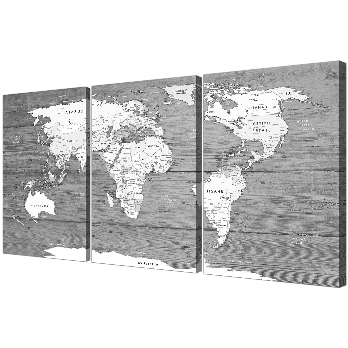 Map Wall Art Intended For Most Recently Released Large Black White Map Of World Atlas – Canvas Wall Art Print – Split (View 7 of 15)