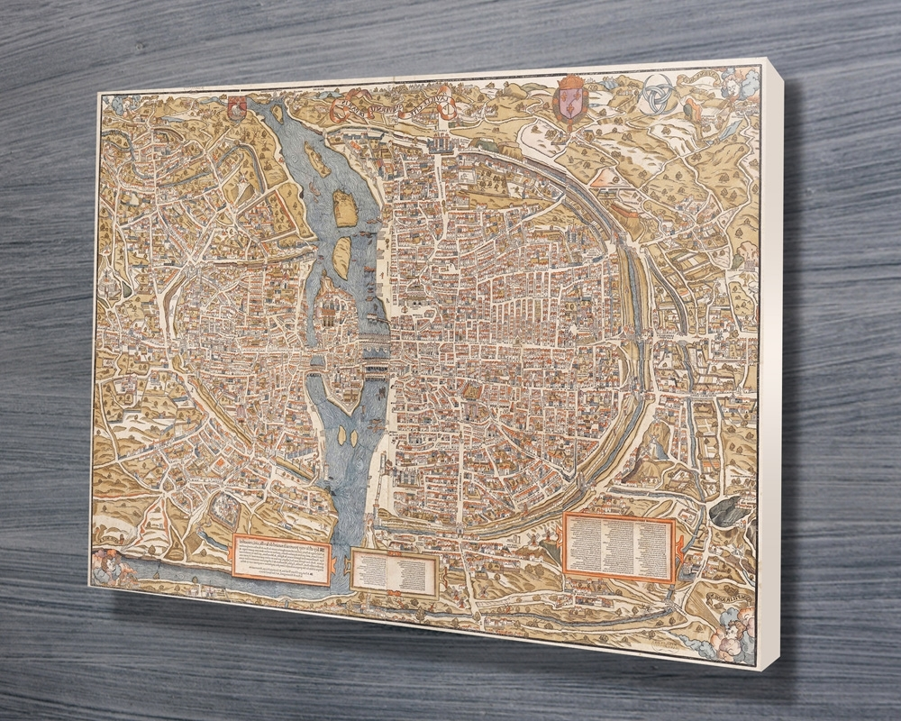 Map Wall Art Prints Throughout Widely Used Paris 1550 Map Canvas Wall Art Print (View 6 of 15)
