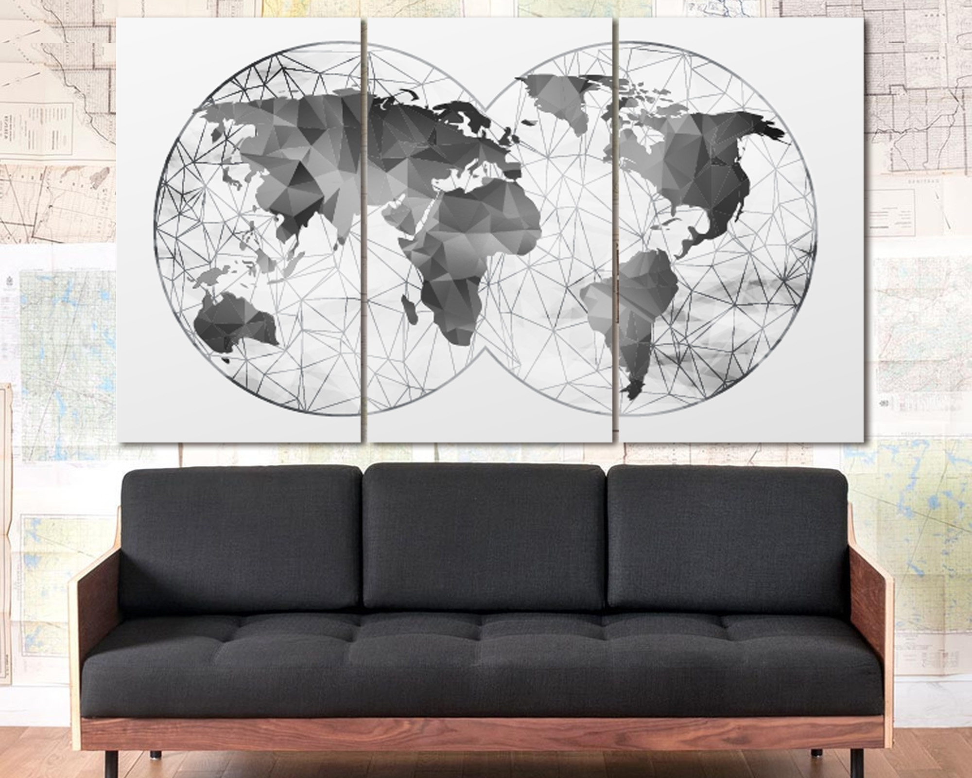 Map Wall Art Prints With Regard To Popular Double Hemisphere Black & White Abstract World Map At Texelprintart (View 7 of 15)