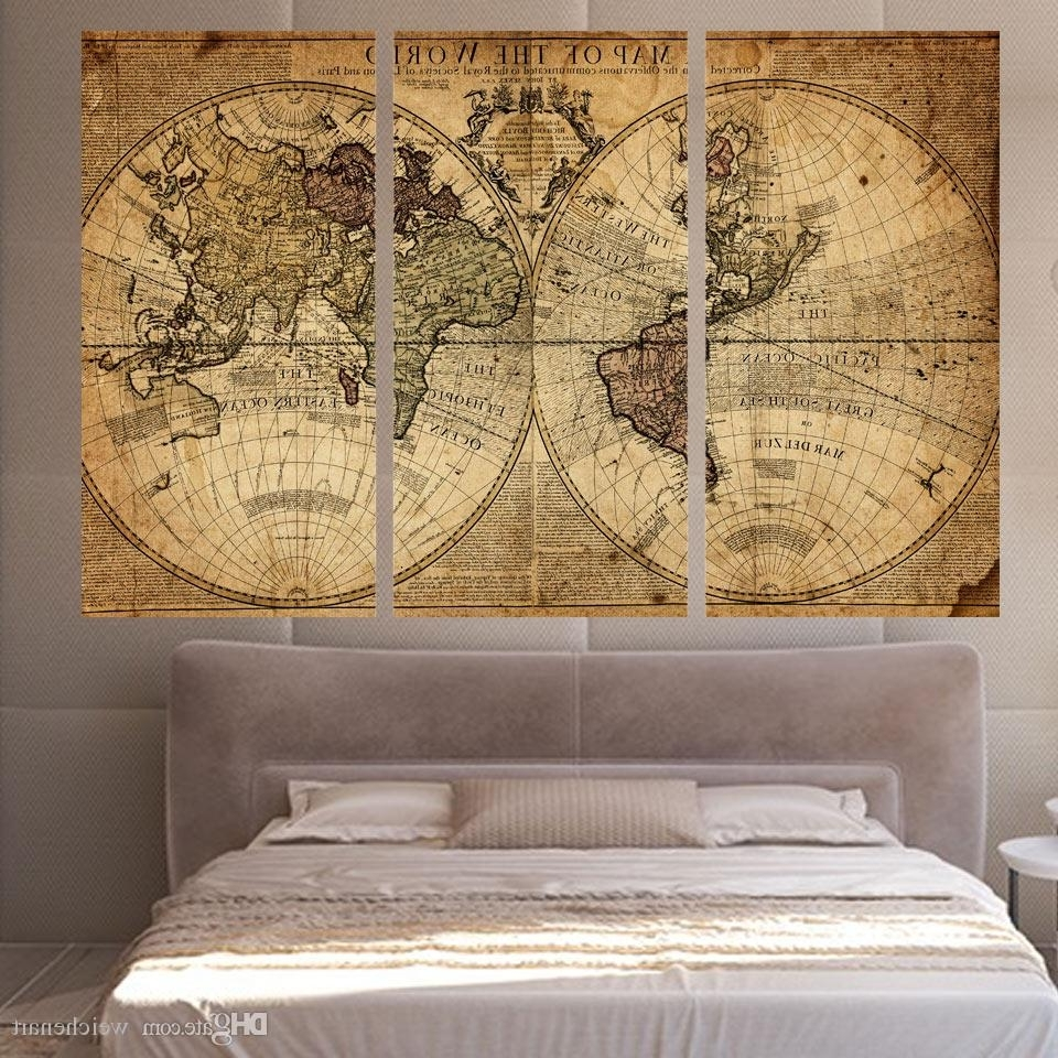 Map Wall Art Within Recent Best 3 Panels Vintage World Map Canvas Painting Home Decor Wall Art (View 15 of 15)