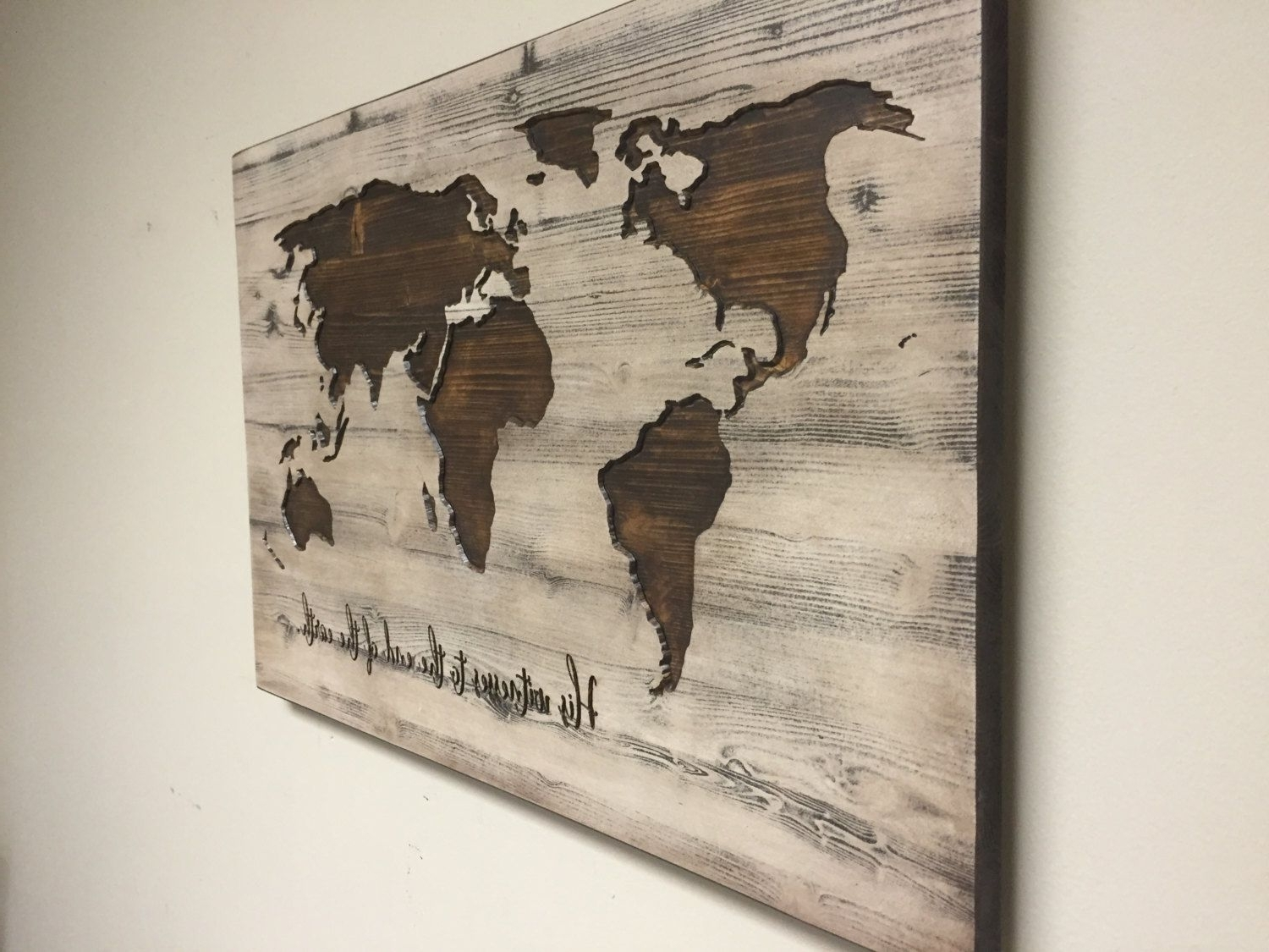 Maps Wall Art Pertaining To Most Current World Map Wall Art, Spiritual, Vintage Carved Wood Map, His Witness (View 6 of 15)