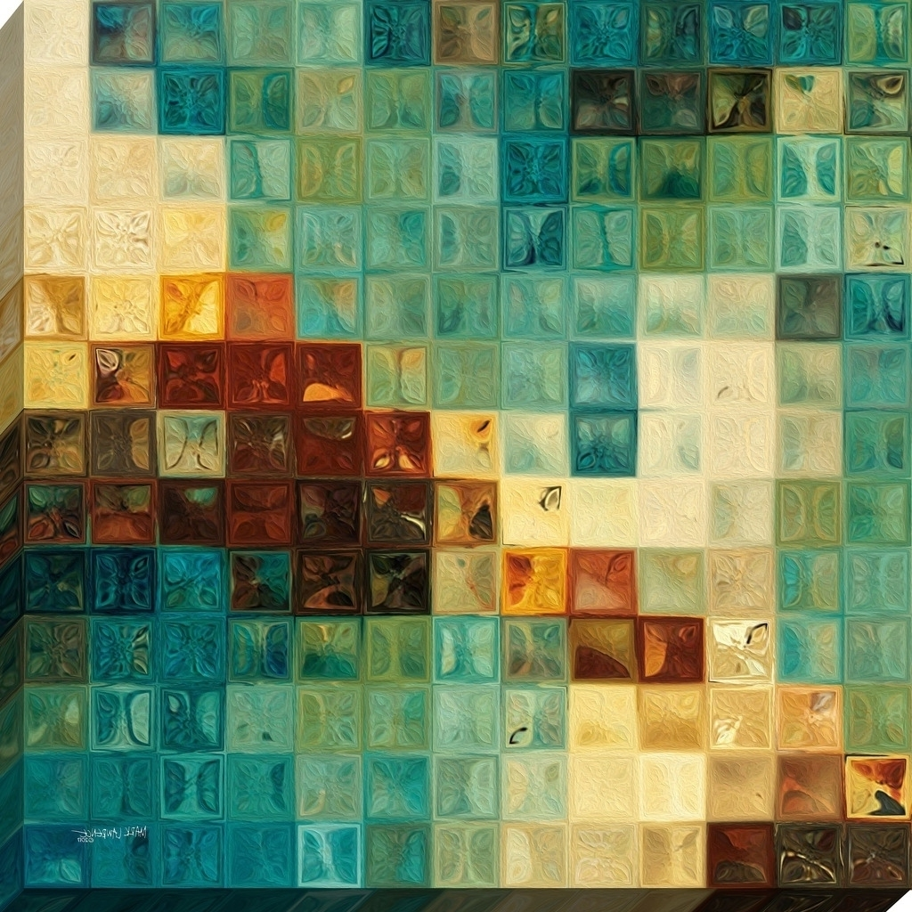 """Mark Lawrence """"aqua Tiles"""" Giclee Stretched Canvas Wall Art – Ships Throughout Most Recently Released Tile Canvas Wall Art (View 7 of 15)"""