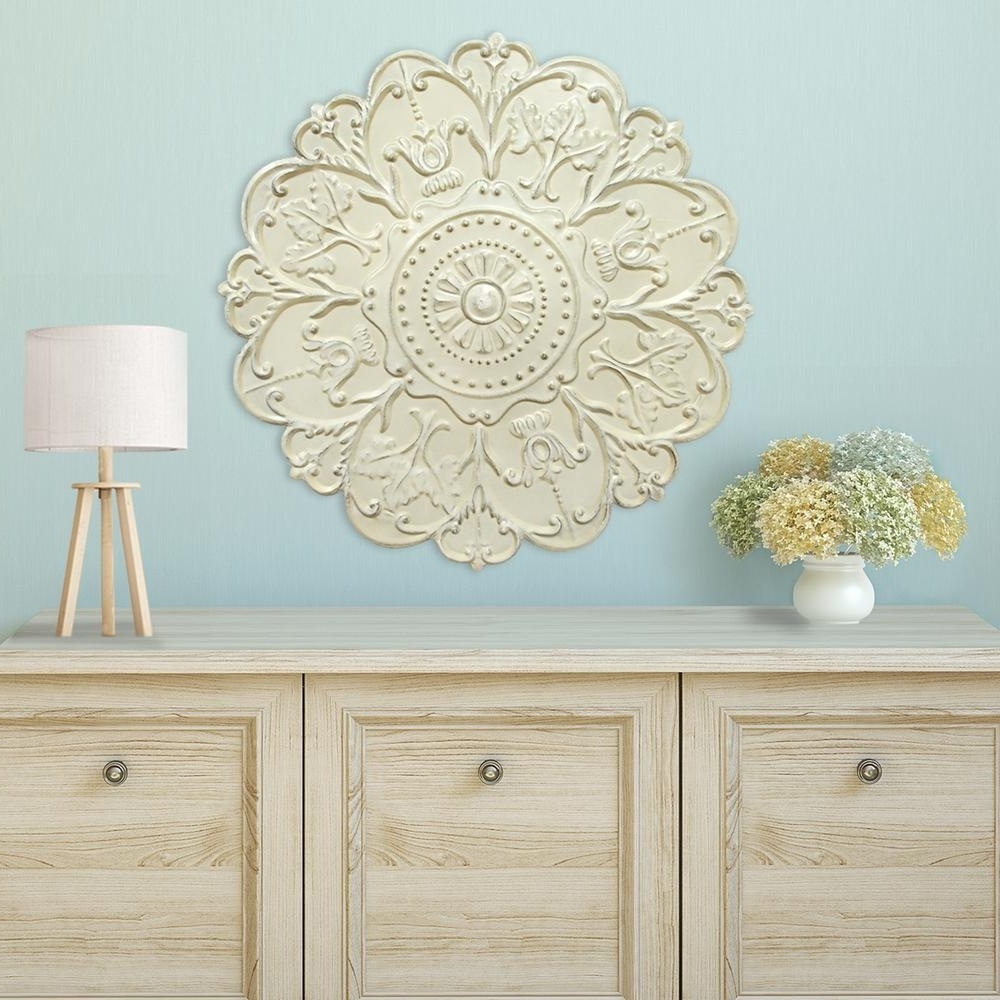 Medallion Wall Art pertaining to Most Popular Shabby White Medallion Wall Decor-S03354 - The Home Depot