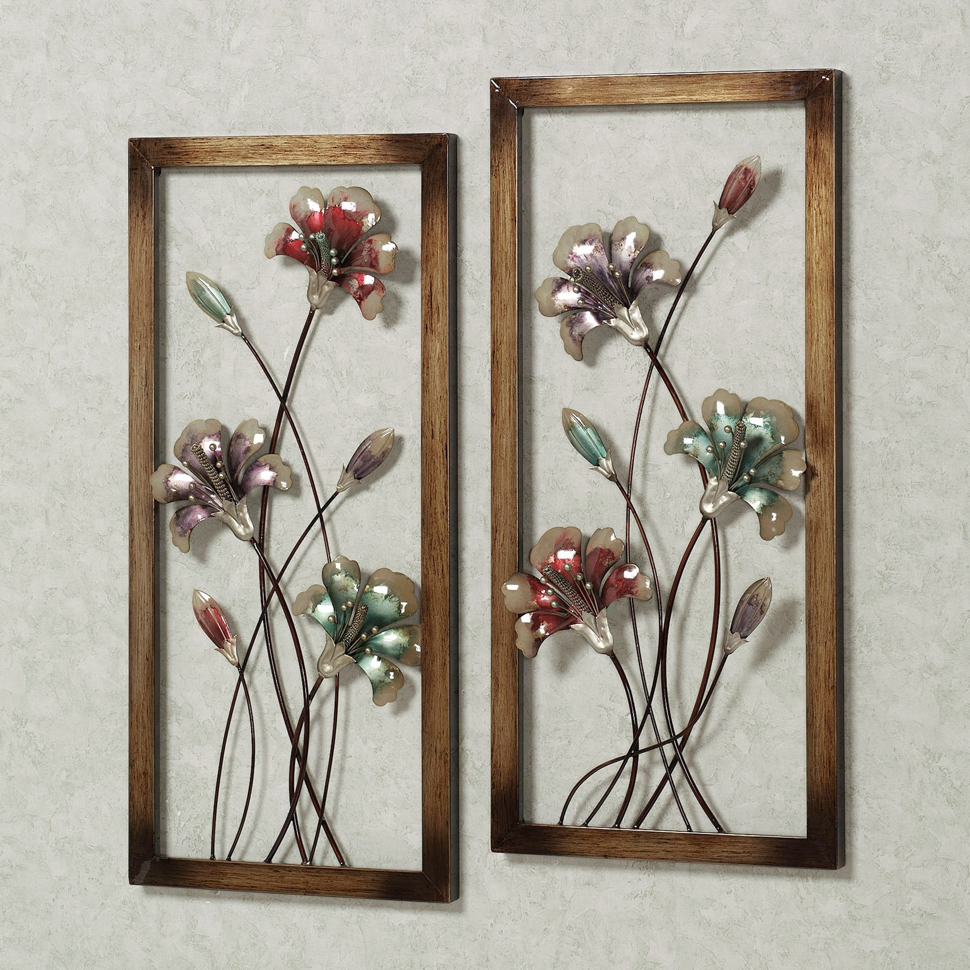 Metal Flower Wall Art For 2017 Garden Whispers Floral Metal Wall Art Panel Set (View 7 of 15)