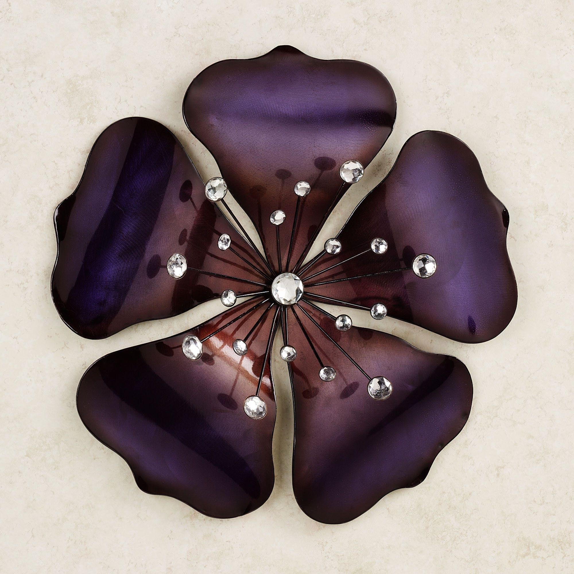Metal Flowers Wall Art In Well Known Shimmering Gem Purple Flower Metal Wall Art (View 15 of 15)