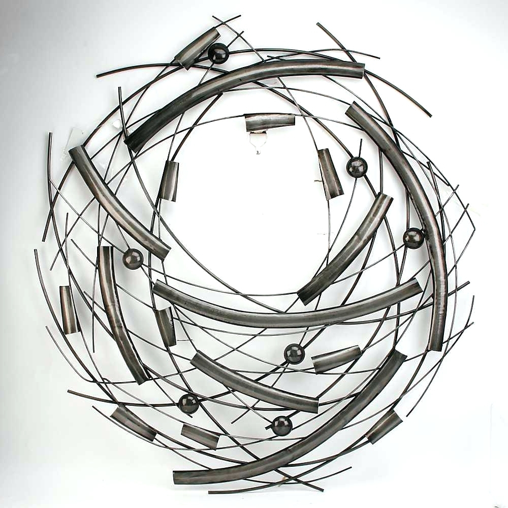 Metal Mirror Wall Decor In Circle Panel Black Scroll Wood Abstract For 2018 Black Metal Wall Art (View 11 of 15)