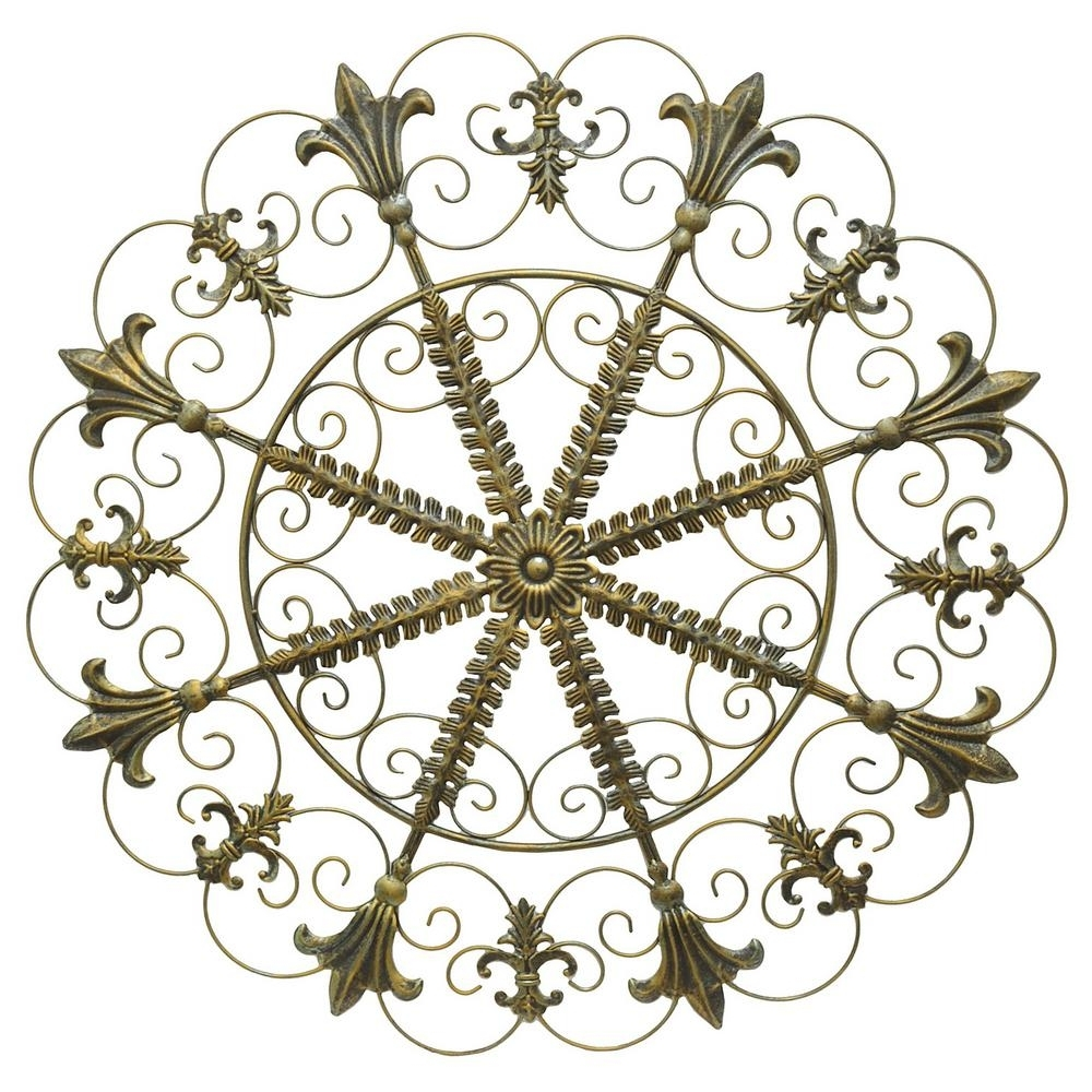 Metal Scroll Wall Art Inside Well Known Three Hands Metal Scroll Wall Art – Antique Gold 94151 – The Home Depot (View 3 of 15)