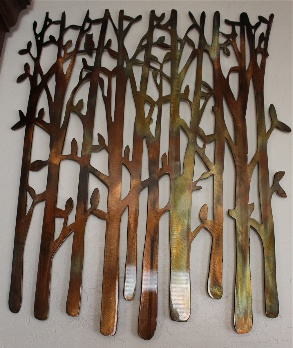 Metal Wall Art Intended For Trendy Birch Tree, Birch Tree Metal Art, Bamboo, Bird In The Trees, Bird On (View 8 of 15)