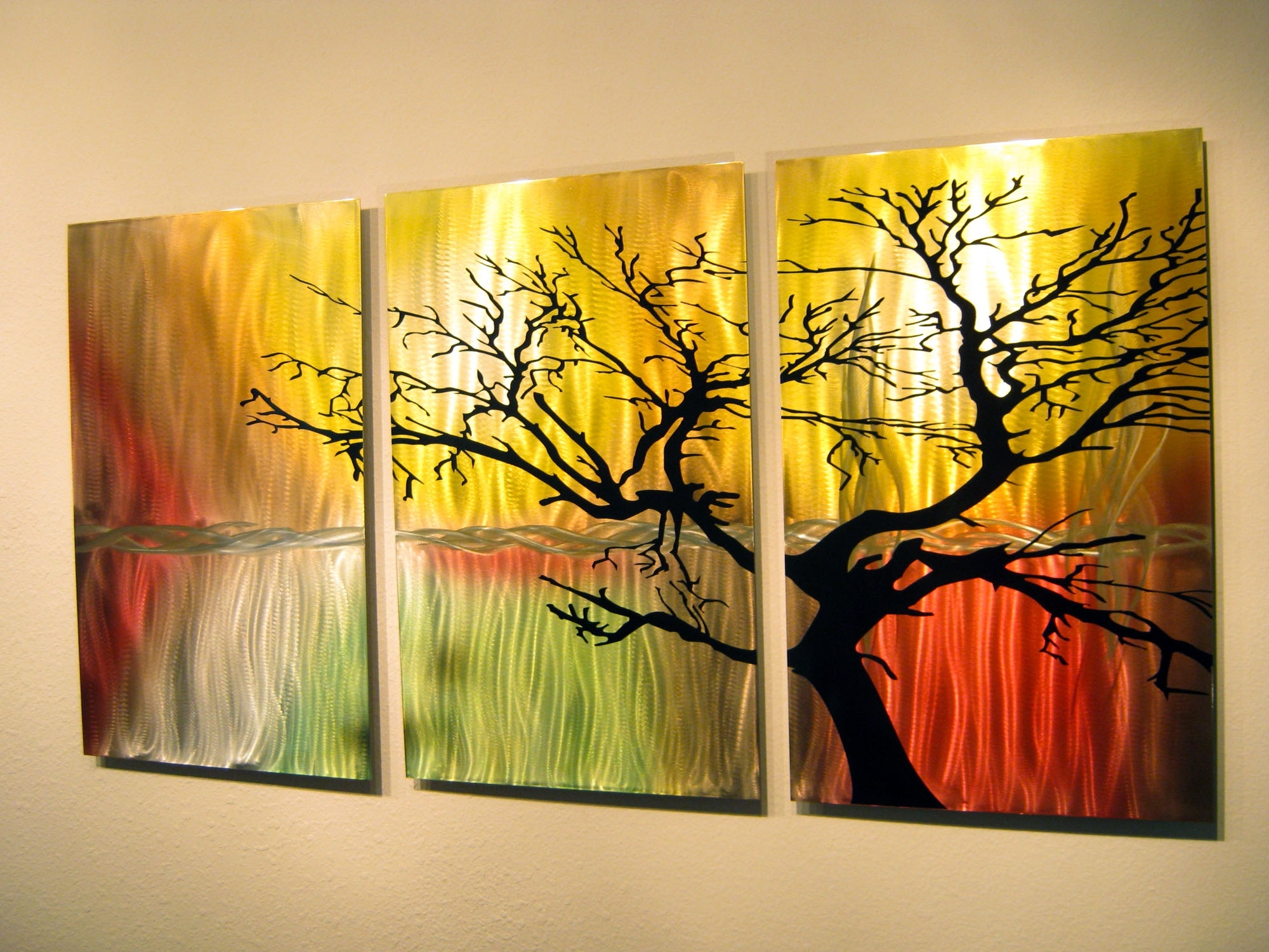 Metal Wall Art Panels Intended For Famous Tree In Silhouette Metal Wall Art Contemporary Modern Decor (View 2 of 15)