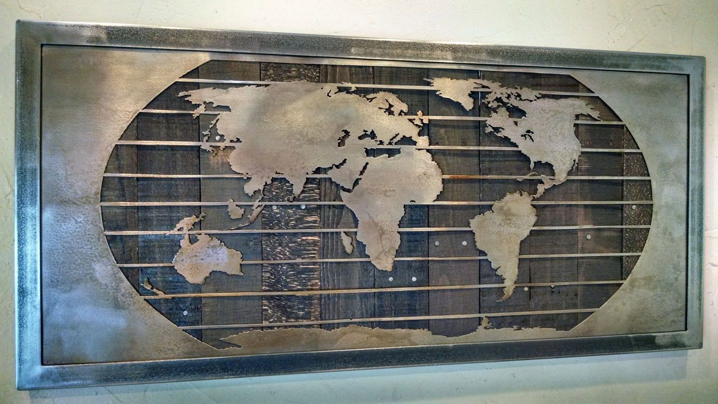 Metal World Map Wall Art Sculpture – 3 Sizes – Reclaimed Wood With Well Known Wood And Metal Wall Art (View 3 of 15)