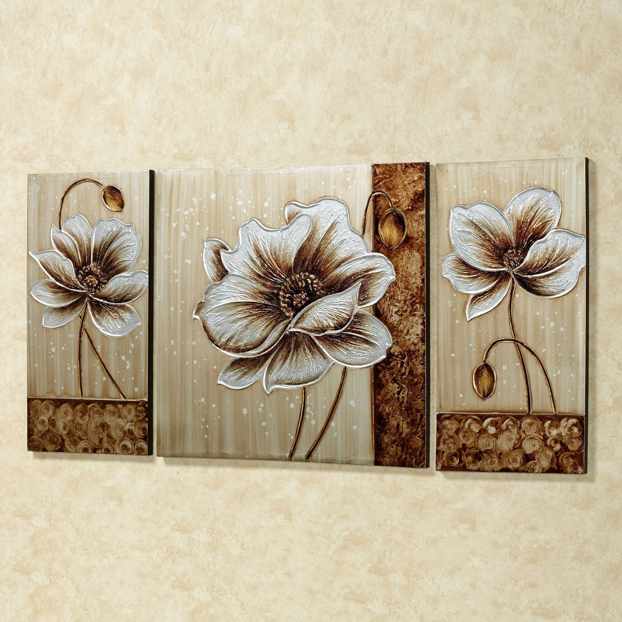 Metallic Wall Art Intended For Well Known Subtle Elegance Floral Canvas Wall Art Set (View 7 of 15)