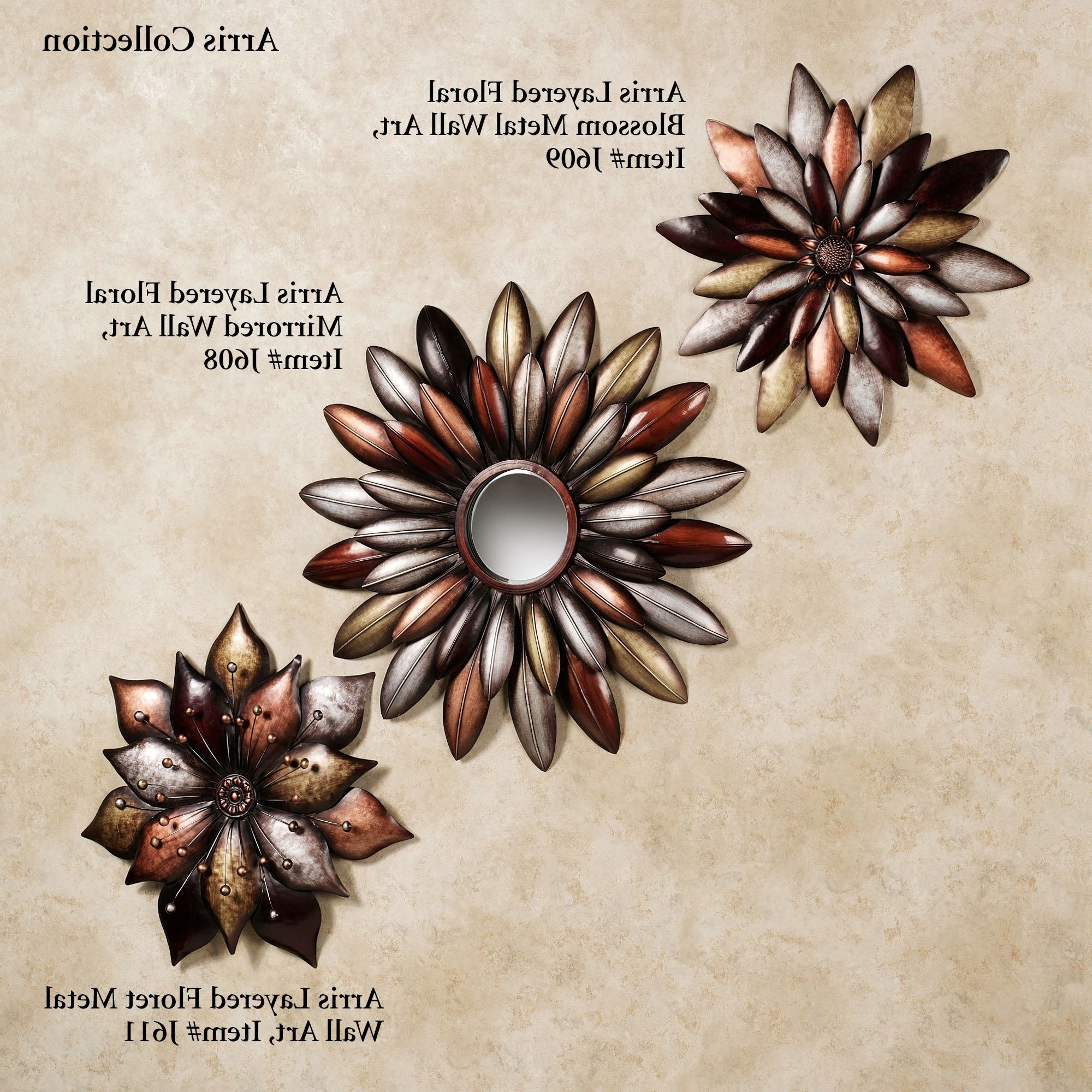 Metallic Wall Art Regarding Most Popular Arris Layered Floral Blossom Metal Wall Art (View 8 of 15)