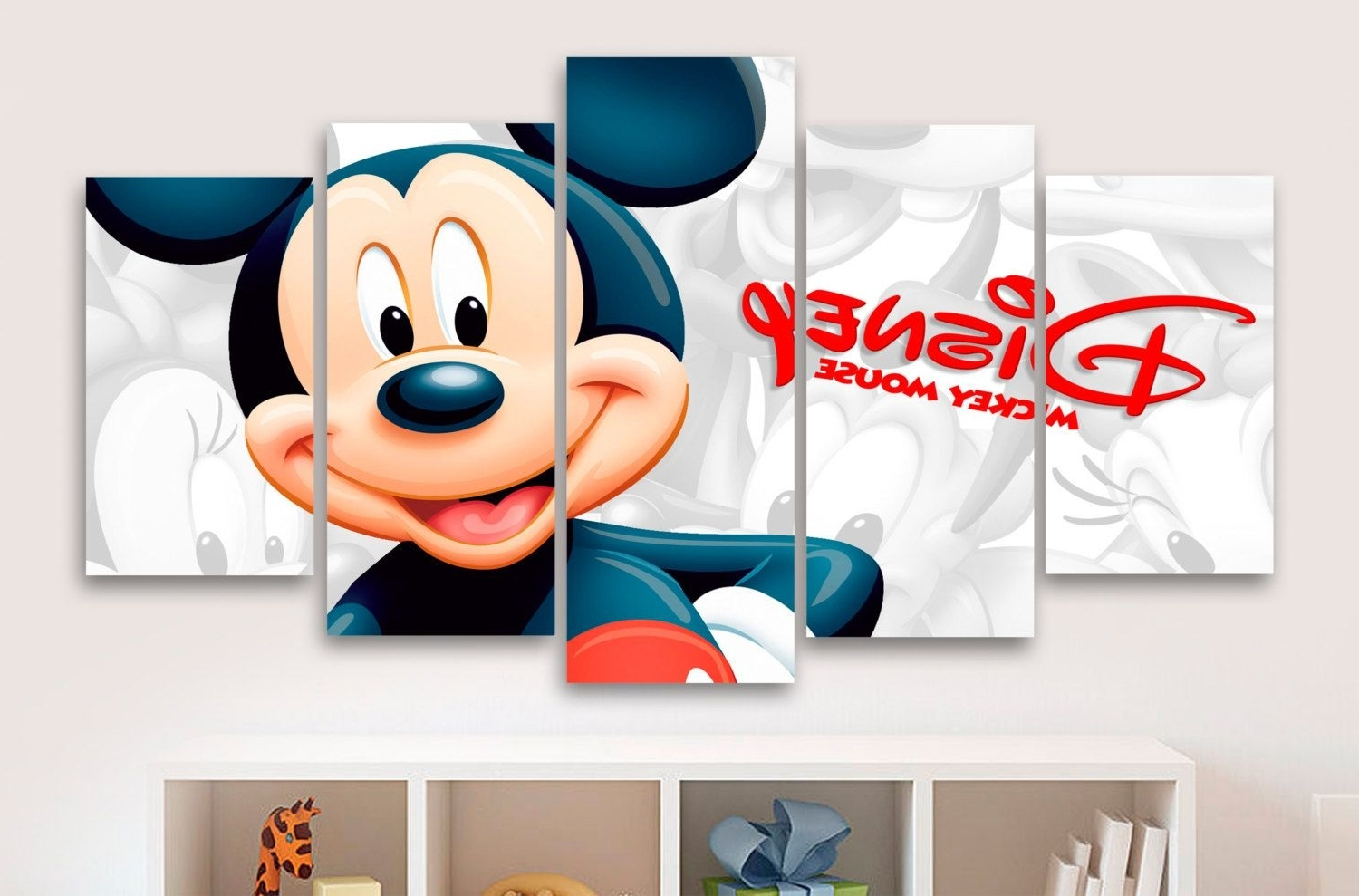 Mickey Mouse 5 Panel / Piece Canvas – Wall Art – Office – Bedroom Regarding Most Up To Date Mickey Mouse Canvas Wall Art (View 5 of 15)
