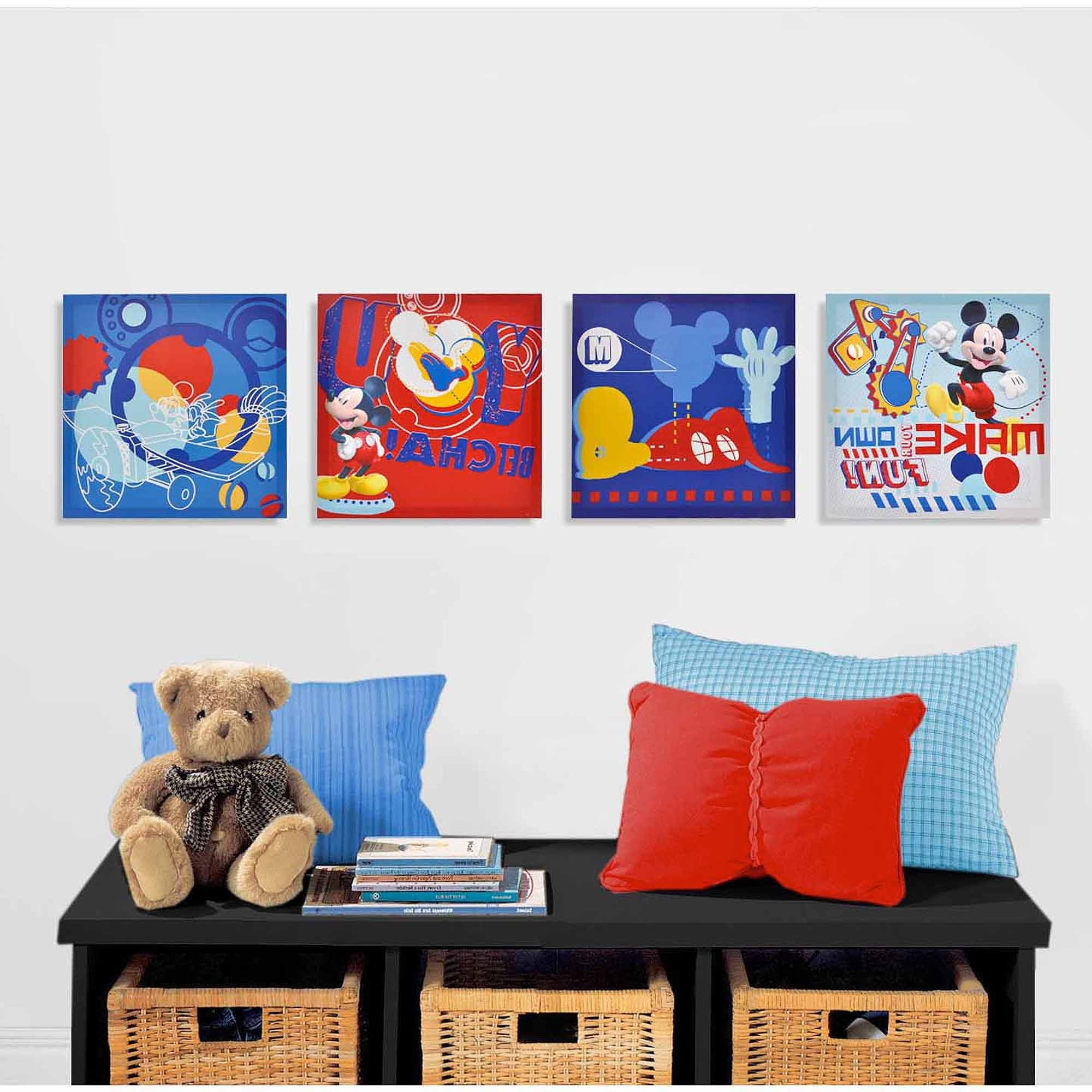 Mickey Mouse Canvas Wall Art In Most Current Disney Mickey Mouse 4 Piece Canvas Wall Art – Walmart (View 2 of 15)