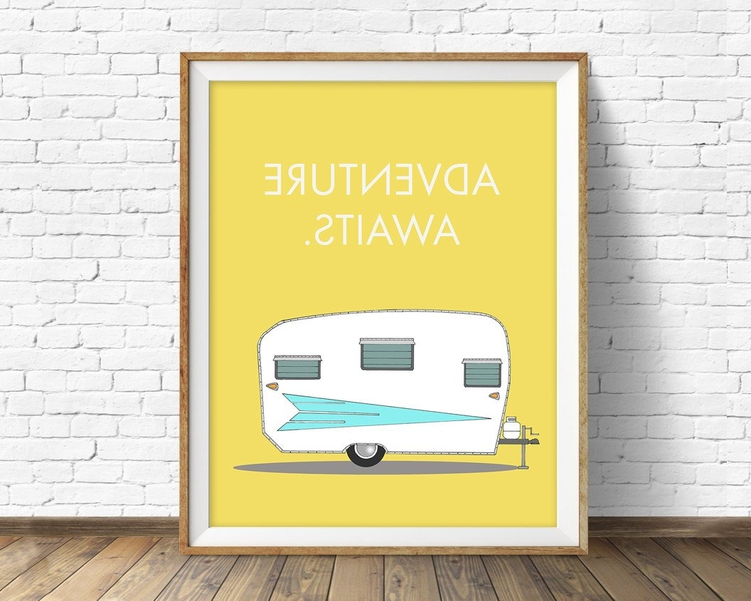 Mid Century Modern Wall Art Pertaining To 2018 Retro Camper Art Print, Mid Century Modern Wall Art, Large Art (View 6 of 15)