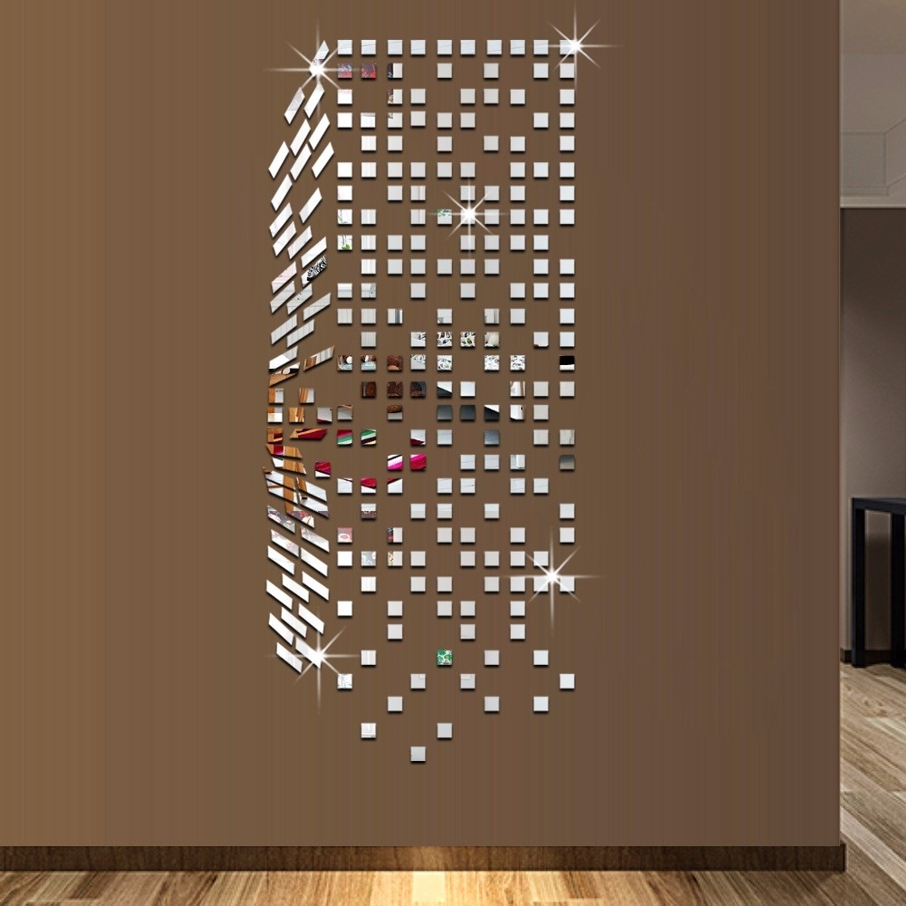 Mirror Mosaic Background Wall Stickers Home Decor Diy Creative Intended For Newest Mirror Mosaic Wall Art (View 7 of 15)